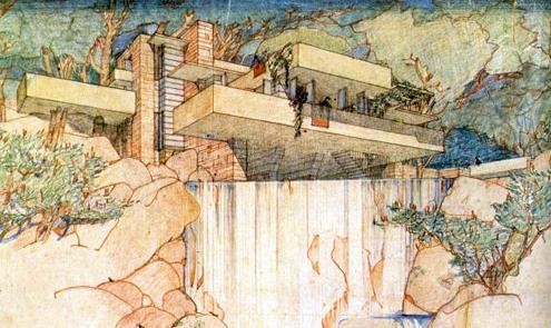 Dibujo de  La Casa de la Cascada - Frank Lloyd Wright